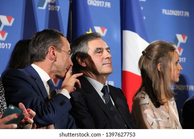 Lyon, FRANCE - 10/06/2016 : François Fillon is campaigning for the right-wing primary for the presidential election. He holds a meeting in Lyon whith several supporters, including Laurent Wauquiez.
