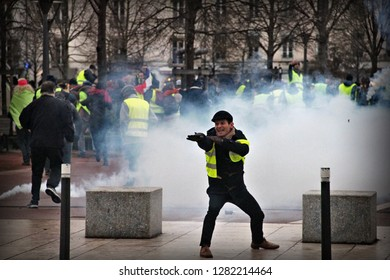 Lyon, France - 12/01/2019 :    Several thousand yellow vests have demonstrated in Lyon to protest against the government. Clashes took place with the police who arrested people