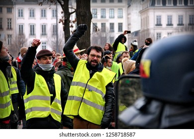 Lyon, FRANCE - 15/12/2018 Several hundred yellow vests have demonstrated in the city center of Lyon. Incidents and clashes erupted with the police, who responded with tear gas, including Place Belleco