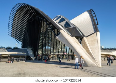 Lyon, France - 16 March 2019: TGV station at Lyon Saint-Exupery, designed by architect Santiago Calatrava. The structure of almost forty meters high steel and concrete is the metaphor of a huge bird.