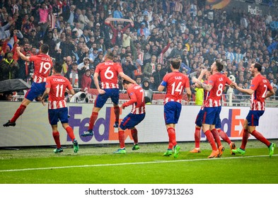 LYON, FRANCE - 16 May, 2018: Football players Atletico Madrid celebrate goal scored Antoine Griezmann during the final UEFA Europa League match between Atletico Madrid vs Olympic Marseille, France