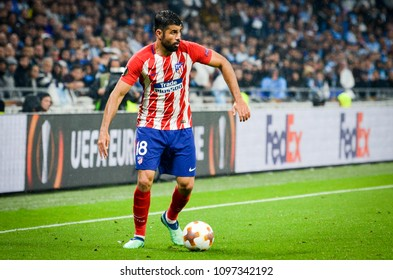 LYON, FRANCE - 16 May, 2018: Diego Costa during the final UEFA Europa League match between Atletico Madrid vs Olympic Marseille at the Groupama Stadium, France