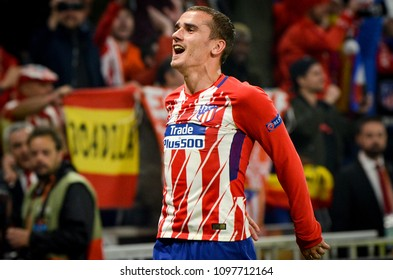 LYON, FRANCE - 16 May, 2018: Athletico Madrid and Antoine Griezmann celebrates victory in the final UEFA Europa League against Olympic Marseille at the Groupama Stadium, France