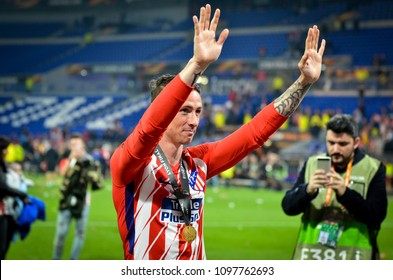LYON, FRANCE - 16 May, 2018: Athletico Madrid players and Fernando Torres  celebrates victory in the final UEFA Europa League against Olympic Marseille at the Groupama Stadium, France