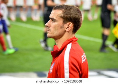 LYON, FRANCE - 16 May, 2018: Antoine Griezmann during the final UEFA Europa League match between Atletico Madrid vs Olympic Marseille at the Groupama Stadium, France