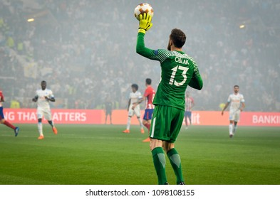 LYON, FRANCE - 16 May, 2018: Jan Oblak during the final UEFA Europa League match between Atletico Madrid vs Olympic Marseille at the Groupama Stadium, France