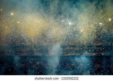 LYON, FRANCE - 16 May, 2018: Opening Ceremony of the Europa League with fireworks at the Groupama Stadium, France