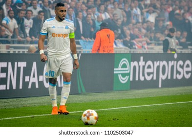 LYON, FRANCE - 16 May, 2018: Dimitri Payet during the final UEFA Europa League match between Atletico Madrid vs Olympic Marseille at the Groupama Stadium, France