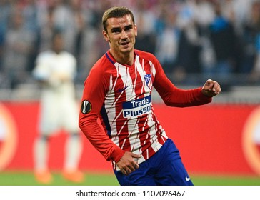 LYON, FRANCE - 16 MAY, 2018: Antoine Griezmann celebrates after a goal scored during the UEFA Europa League Final between Olympique de Marseille and Atletico de Madrid at Stade de Lyon.