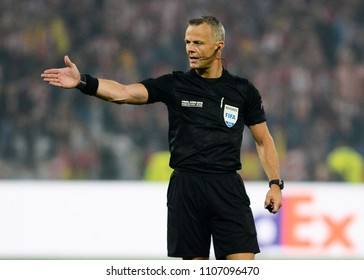 LYON, FRANCE - 16 MAY, 2018: Dutch FIFA referee Bjorn Kuipers pictured during the UEFA Europa League Final between Olympique de Marseille and Atletico de Madrid at Stade de Lyon.