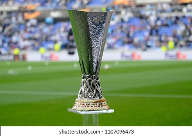 LYON, FRANCE - 16 MAY, 2018: The UEFA Europa League trophy pictured prior to the UEFA Europa League Final between Olympique de Marseille and Atletico de Madrid at Stade de Lyon.