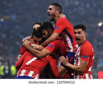 LYON, FRANCE - 16 MAY, 2018: Ateltico player celebrate after a goal scored during the UEFA Europa League Final between Olympique de Marseille and Atletico de Madrid at Stade de Lyon.