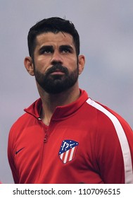 LYON, FRANCE - 16 MAY, 2018: Diego Costa pictured during the UEFA Europa League Final between Olympique de Marseille and Atletico de Madrid at Stade de Lyon.