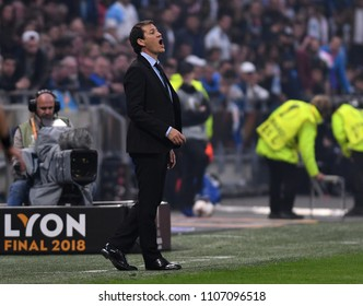 LYON, FRANCE - 16 MAY, 2018: Marseille head coach Rudi Garcia pictured during the UEFA Europa League Final between Olympique de Marseille and Atletico de Madrid at Stade de Lyon.