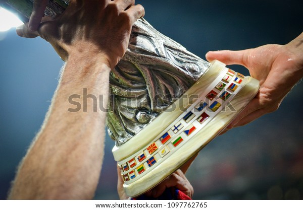 LYON, FRANCE - 16 May, 2018: The transfer of the UEFA Europa League Cup close-up, after the victory of Atletico Madrid  against Olympic Marseille at the Groupama Stadium, France