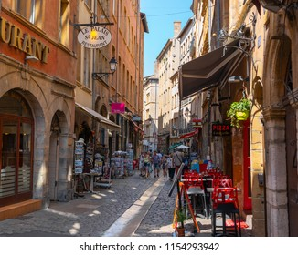 Lyon France, 2 August 2018: Vieux-Lyon old district pedestrian street view in Lyon France during summer with tourists