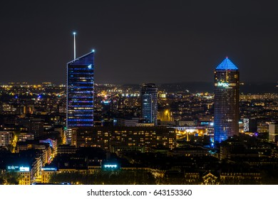 LYON, FRANCE - APRIL 11, 2017 Lyon city focus on business district Pardieu by night a day of full moon