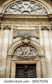 LYON, FRANCE - APRIL 18, 2014: Entrance to Hotel Dieu - the first hospital built in Lyon, Rhone-Alpes, France. It was a hospital of historical significance situated on the west bank of the Rhone river