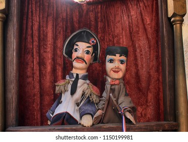 Lyon, France - April, 2018: Guignol is a symbol of Lyon. Guignol is the main character in a French puppet show.  Historical center - old city of Lyon, France.