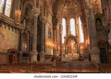 Lyon, France, April, 2018:  Interior of Notre Dame de Fourviere basilica paintings and details of Notre Dame de Fourviere basilica, Lyon, France