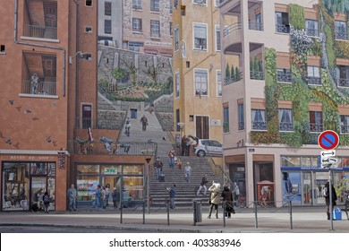 """LYON, FRANCE, April 8, 2016 : Realized in 1987 in Croix-Rousse district, """"Mur des Canuts"""" is the biggest fresco in Europe, created by artists of Lyon who realize such trompe-l'oeil all over the world."""