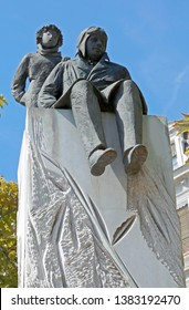 Lyon, France - August 15, 2018: Statues of Little Prince and the writer antoine de saint-exupery