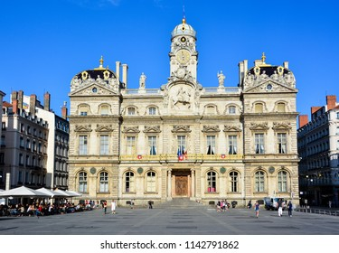 Lyon / France — August 19, 2015: a view of Hotel de Ville de Lyon, or the Lyon City Hall, from Place des Terreaux. The historic city hall is one of the most beautiful buildings in the city