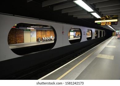 Lyon, France – August 3, 2019: Metro, Underground Transport System in Lyon, France, Europe