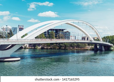 Lyon, France - December 10, 2016: Confluence district, the Raymond Barre bridge leading to the Confluence museum