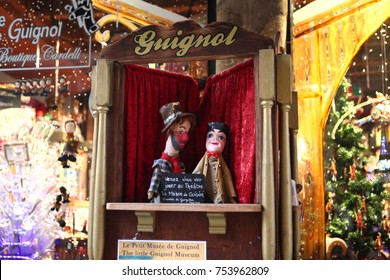 Lyon, France - December 20, 2016: Guignol theater. Guignol is the main character in a French puppet show. Guignol is a symbol of Lyon. historical center (Old city).Lyon, France.