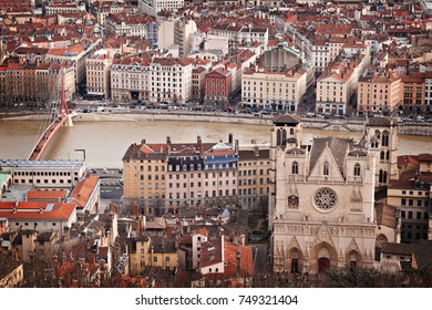 LYON, FRANCE - December 2015: Aerial view of Lyon city from Basilica of Notre-Dame de Fourviere view point in Lyon, France