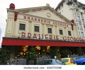 LYON, FRANCE - DECEMBER 30, 2017: Exterior of the famous Brasserie Georges in Lyon.  It is the oldest brasserie in the city and one of the largest brasseries in Europe.