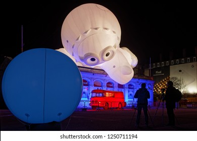 LYON, FRANCE, December 4, 2018 : Festival of the lights in Lyon. For 4 nights, different artists light up buildings, streets mixing poetry, splendor of the monuments and astonishing artistic creations