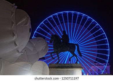 LYON, FRANCE, December 5, 2018 : Festival of the lights in Lyon. For 4 nights, different artists light up buildings, streets mixing poetry, splendor of the monuments and astonishing artistic creations