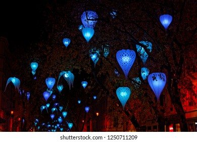 LYON, FRANCE, December 5, 2018 : Streets during Festival of the lights in Lyon. For 4 nights, different artists light up buildings, streets mixing poetry, splendor of the monuments and creations