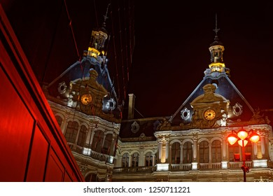 LYON, FRANCE, December 5, 2018 : Streets during Festival of the lights in Lyon. For 4 nights, different artists light up buildings, streets mixingsplendor of the monuments and artistic creations