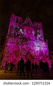 LYON, FRANCE, December 5, 2018 : Cathedral during Festival of the lights in Lyon. For 4 nights, different artists light up buildings, streets mixing splendor of the monuments and artistic creations