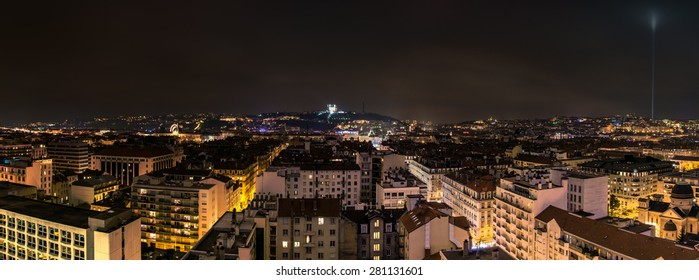 LYON, FRANCE - DECEMBER 6, 2014: panoramic night view of downtown in Lyon, France. Lyon is the capital of the Rhone-Alpes region and France's third largest city after Paris and Marseille