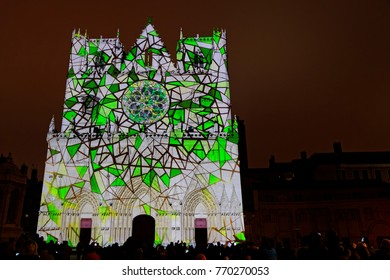 LYON, FRANCE, December 6, 2017 : Cathedral Saint-jean lighten for rehearsal of Festival of the lights, that takes up with the tradition during four nights this year again.