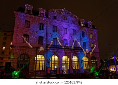 LYON, FRANCE, December 6, 2018 : St-Paul station during Festival of the lights. For 4 nights, different artists light up buildings, streets mixing splendor of the monuments and artistic creations.
