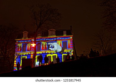LYON, FRANCE, December 6, 2018 : Place des Minimes during Festival of the lights. For 4 nights, different artists light up buildings, streets mixing splendor of the monuments and artistic creations.