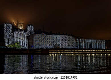 LYON, FRANCE, December 6, 2018 : Cathedral during Festival of the lights. For 4 nights, different artists light up buildings, streets mixing splendor of the monuments and artistic creations.