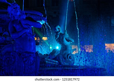 LYON, FRANCE, December 6, 2018 : Jacobins fountain during Festival of the lights. For 4 nights, different artists light up buildings, streets mixing splendor of the monuments and artistic creations.