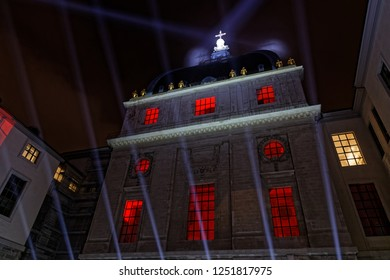 LYON, FRANCE, December 6, 2018 : Hotel-Dieu building during Festival of the lights. For 4 nights, different artists light up buildings, streets mixing splendor of the monuments and artistic creations.