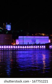 LYON, FRANCE, DECEMBER 6 : Festival of Lights on the monuments of the city, on December 6, 2013 in Lyon, France. More than 4 millions people visit the Festival of Lights around December 8 each year.