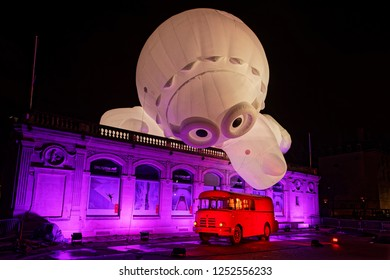 LYON, FRANCE, December 7, 2018 : Place Bellecour during Festival of lights. For 4 nights, different artists light up buildings, streets mixing splendor of the monuments and artistic creations.