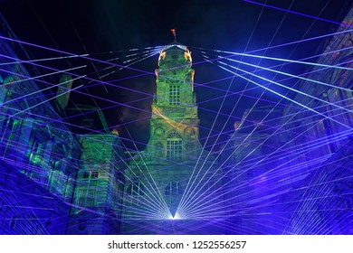 LYON, FRANCE, December 7, 2018 : City Hall during Festival of lights. For 4 nights, different artists light up buildings, streets mixing splendor of the monuments and artistic creations.