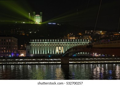 LYON, FRANCE, December 8, 2016 : Lights on Court Law and Basilica. The Festival of Lights expresses gratitude toward Mother Mary around December 8th with different light shows each year.
