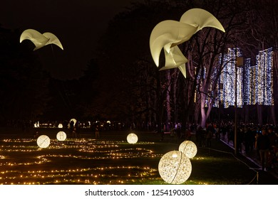 LYON, FRANCE, December 8, 2018 : Festival of lights in the Park. For 4 nights, different artists light up buildings, streets mixing splendor of the monuments and artistic creations.