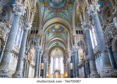 Lyon,  France - December 9, 2016: The nave of the Notre Dame de Fourviere basilica